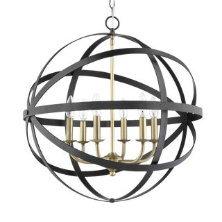 The Orbit 6 Light Chandelier, Matte Black and Antique Brass For Sale