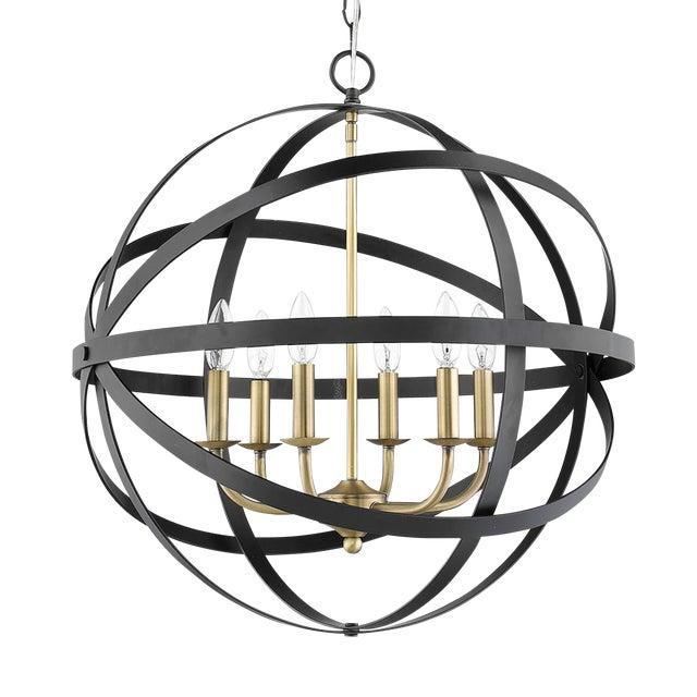 The Orbit 6 Light Chandelier, Matte Black and Antique Brass For Sale