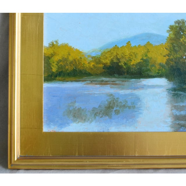 0882a8d922f4 Plein Air Lake   Landscape Oil Painting W  Gold Leaf Frame For Sale In Los