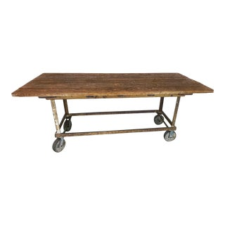 Industrial Plank Table on Wheels For Sale