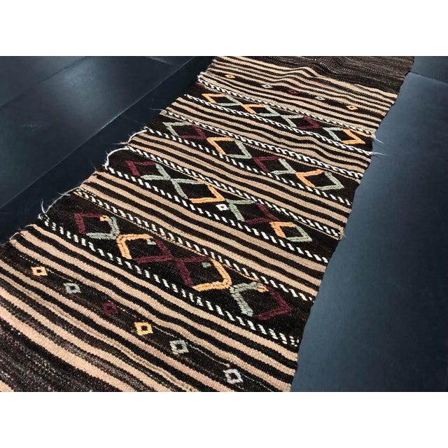 Brown 1960s Vintage Decorative Turkish Anatolian Hand-Woven Kilim Runner- 1′10″ × 10′10″ For Sale - Image 8 of 11