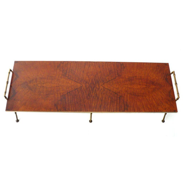 Mid-Century Modern Maison Baguès Quilted Maple and Faux Bamboo Cocktail Table For Sale - Image 3 of 6