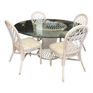 Vintage Bamboo Round Dining Table and Four Chairs For Sale