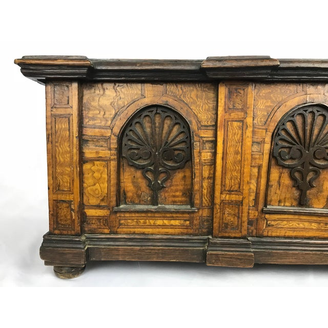 English 1800s Antique Gothic Style Figural Inlay Front Bible Storage Box For Sale - Image 3 of 13