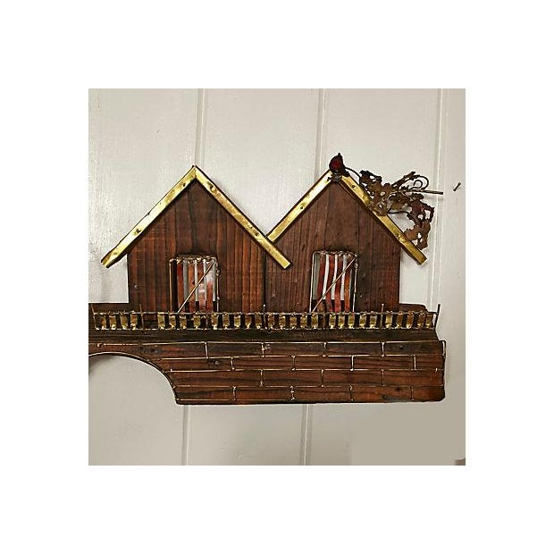 Metal Waterwheel & House Wall Sculpture For Sale - Image 5 of 6
