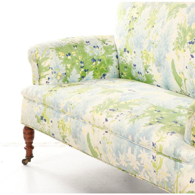 French 1940s Floral Upholstered Settee For Sale In Chicago - Image 6 of 12