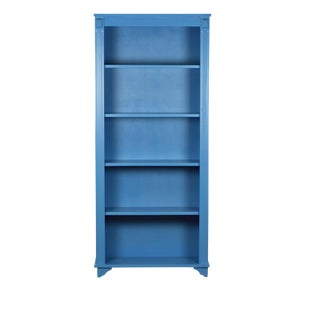 Art Nouveau Reclaimed Pine Wood Blue Bookcase