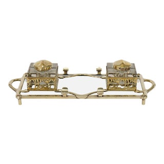 Art Nouveau Double Inkwell Brass & Solid Crystal circa 1890 For Sale