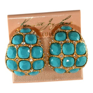Kenneth Jay Lane Earrings Turquoise Blue & Clear Rhinestones on Card For Sale