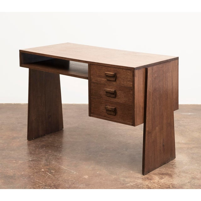 Handsome French Modernist Desk in Walnut, 1950s For Sale - Image 12 of 12
