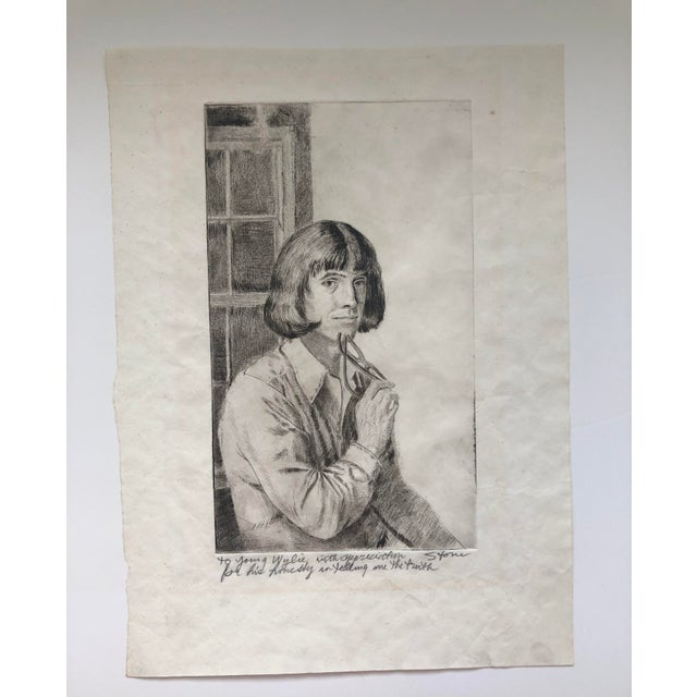 """Paul Goadby Stone (1928-1976) Portrait of a Man Signed and inscribed: """"To Young Wylie with appreciation for his honesty in..."""
