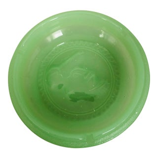 Early 20th Century Green Vaseline Glass Ashtray For Sale