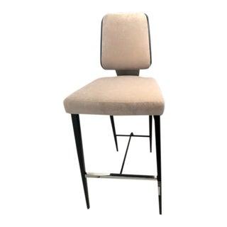 Contemporary Stationary Greige Upholstered Chrome Detail Barstool For Sale