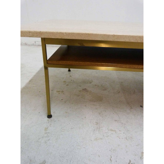 Paul McCobb For Calvin Mahogany, Brass & Travertine Coffee Table - Image 8 of 11