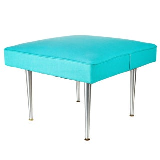 Large Mid-Century Blue Square Ottoman Coffee Table For Sale