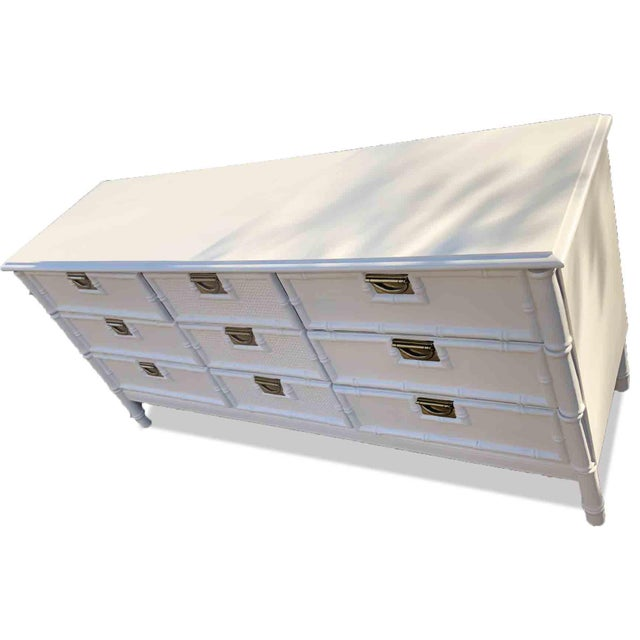 Mid Century Hollywood Regency Faux Bamboo Dresser in White For Sale - Image 4 of 7