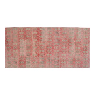 Distressed Handmade Muted Color Foyer Turkish Oushak Wool Rug Runner- 4.7 X 9.9 For Sale