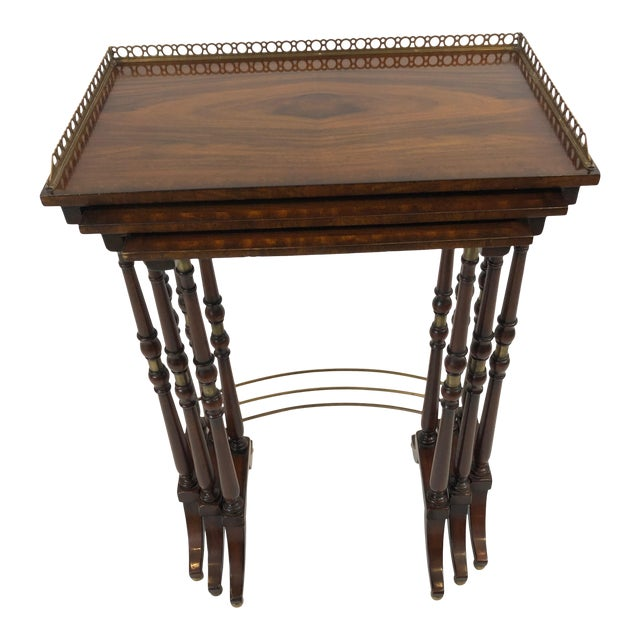 Regency Zebra Wood Nesting Tables - Set of 3 For Sale