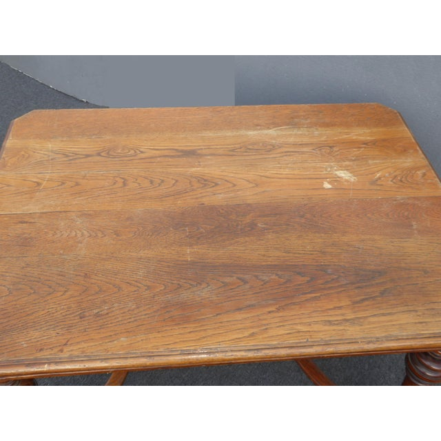 Antique Spanish Style Library Table Desk W Stretcher Mission Style For Sale - Image 11 of 13