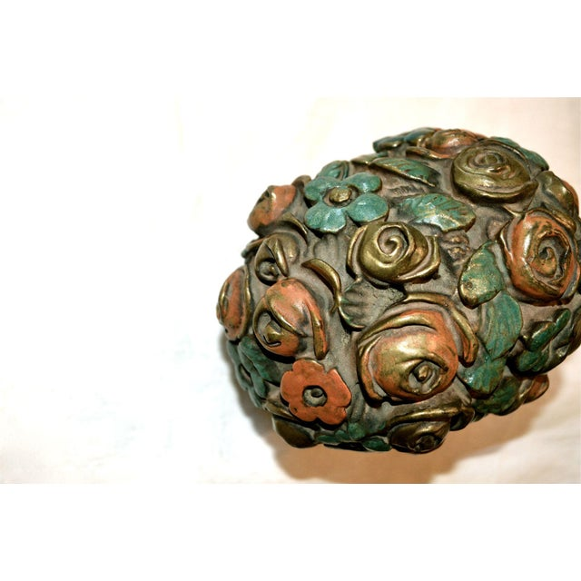 1920s French Barbotine Flower Bouquet Doorstop For Sale - Image 6 of 10