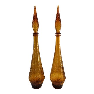Vintage Mid Century Modern Empoli Genie Bottle Art Glass Decanters - a Pair For Sale