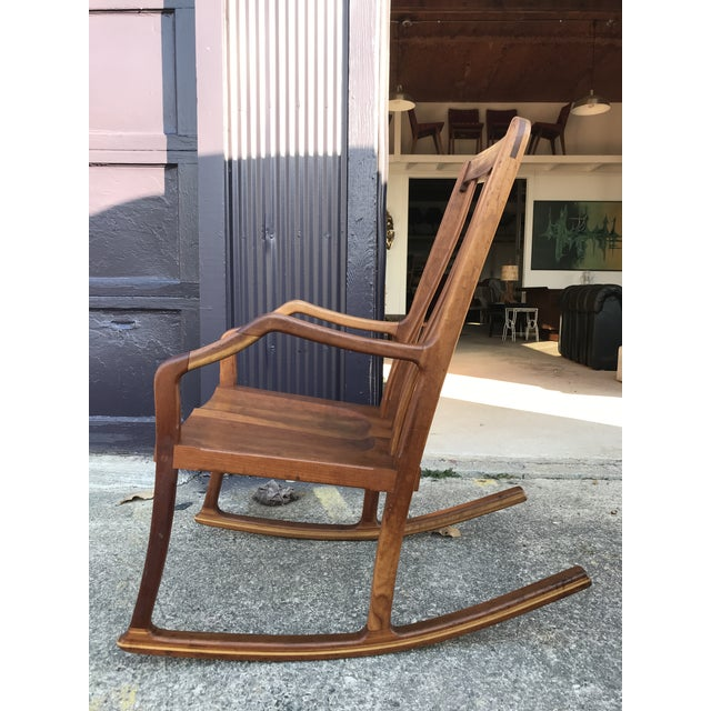 American Studio Walnut Rocking Chair Craft Movement For Sale - Image 11 of 13