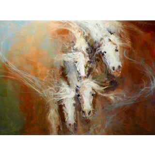 """Expressionist Oil Painting, """"Iv"""" Horses Dissipating For Sale"""
