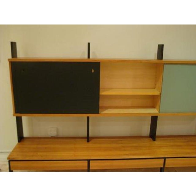 Mid-Century Modern Mid Century European Birch and Lacquer Long Wall Unit For Sale - Image 3 of 4