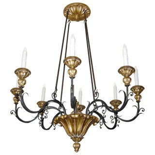Black & Gold Veneto Italian Designer Eight Arm Chandelier by Randy Esada Designs Inc For Sale