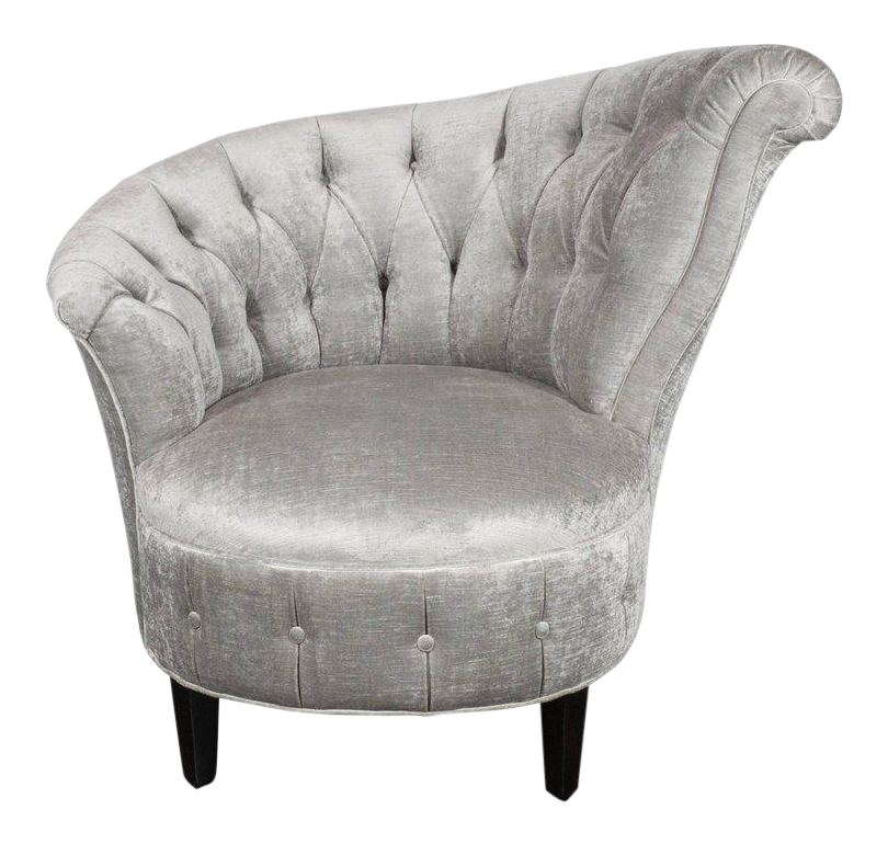 1940s Hollywood Regency Asymmetrical Tufted Chair In Platinum Velvet    Image 1 Of 11