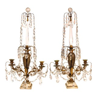 Neoclassical Revival Girandole Candelabras With Crystal Ornaments - a Pair For Sale