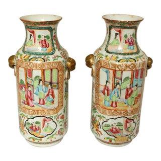 Rose Medallion Vases - a Pair For Sale
