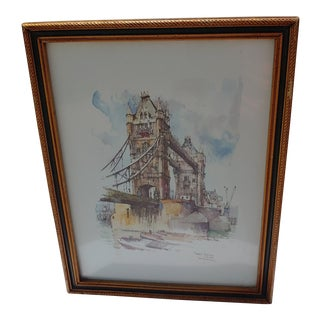 Vintage Tower Bridge London Print For Sale