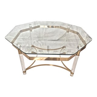 Vintage Glass & Lucite Charles Hollis Jones Style Coffee Table For Sale