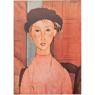 1947 Modigliani, Original Expressionist Lithograph La Fillette Au Chapeau For Sale