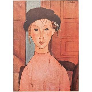 1947 Modigliani, Original Expressionist Lithograph La Fillette Au Chapeau For Sale