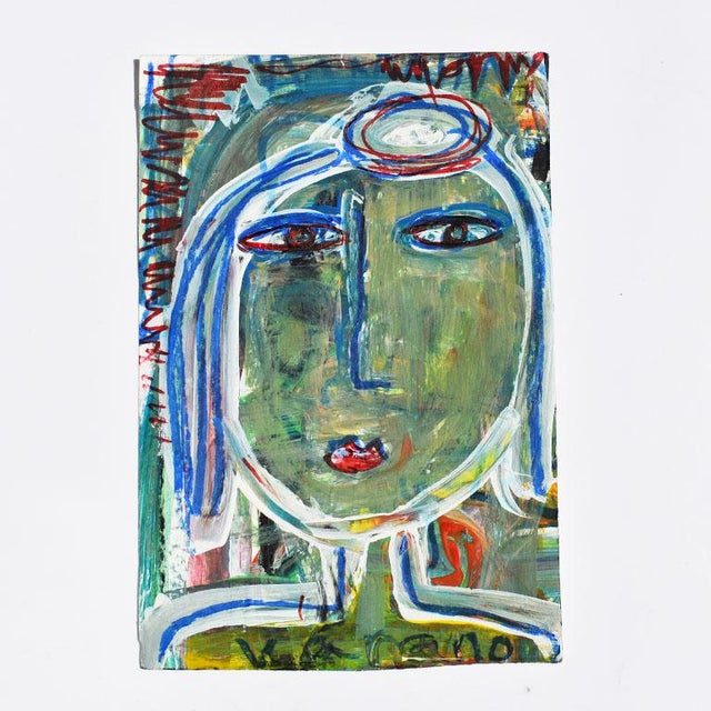 2010s Contemporary Green Abstract Outsider Figural Painting of a Woman For Sale - Image 5 of 5