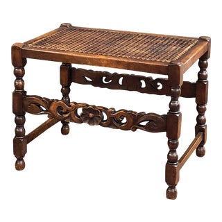 English Caned Bergere Seat or Bench with Carved Wood Stretcher For Sale