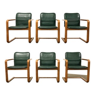 Teak Cantilever Green Dining Chairs - Set of 6 For Sale