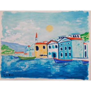 Landscape Greek Island Seascape Painting by Cleo For Sale