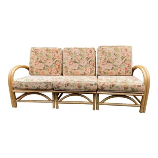 Mid Century Floral Bamboo Rattan Sectional For Sale