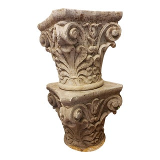 Pair of 19th C. Stone Capitals For Sale