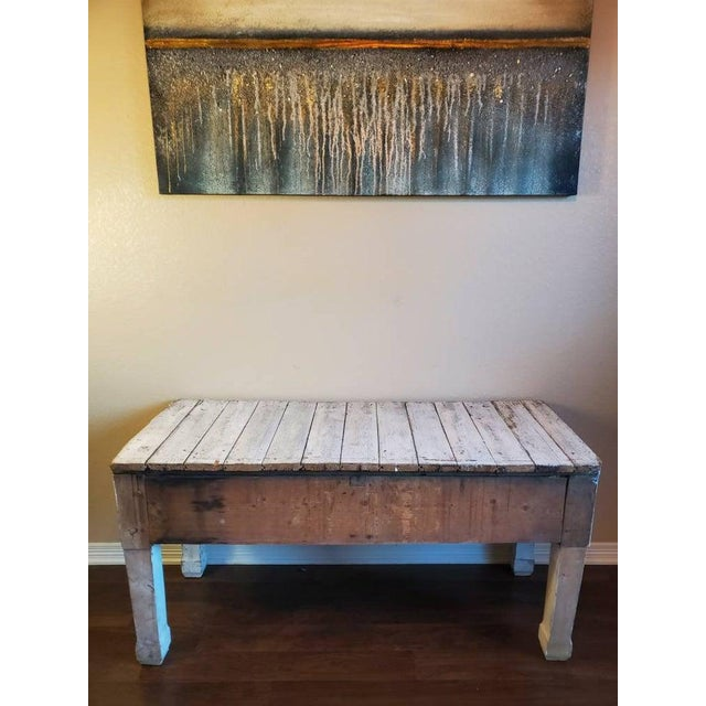 Antique Distressed Painted Plank Top Console Table For Sale - Image 10 of 11