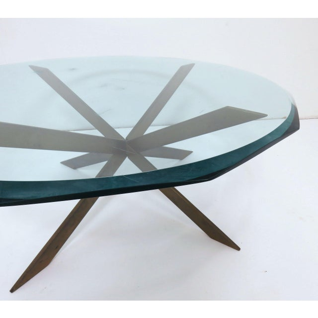 Leon Rosen for Pace Bronze X-Form Coffee Table For Sale - Image 9 of 10