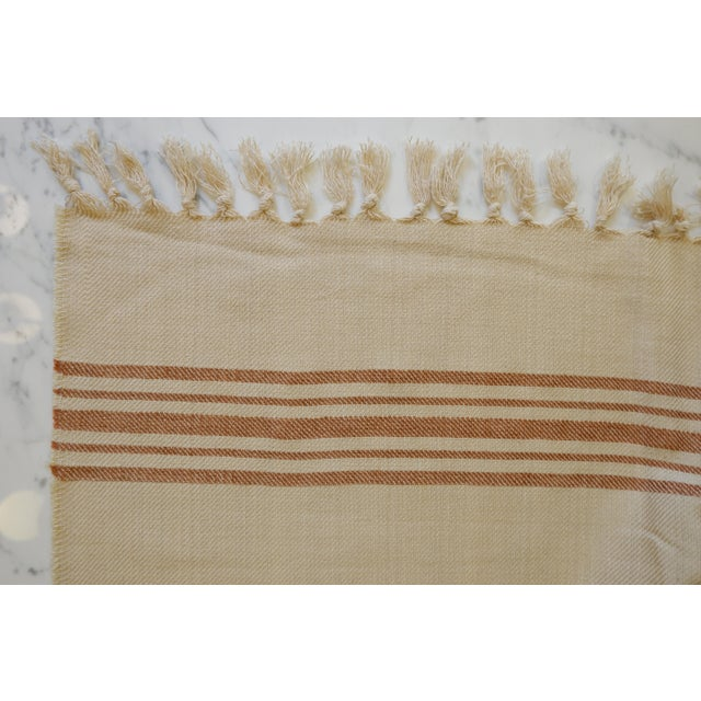 2020s Turkish Hand Made Bed Coverlet With Natural Linen/Cotton,70x96 Inches For Sale - Image 5 of 8