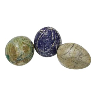 1960s Polished Italian Marble Eggs - Set of 3 For Sale