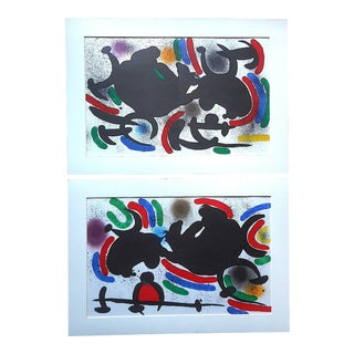 A Pair-Vintage Mid 20th C. Ltd. Ed. Double Page Lithographs-Joan Miro-Original Designs For Sale