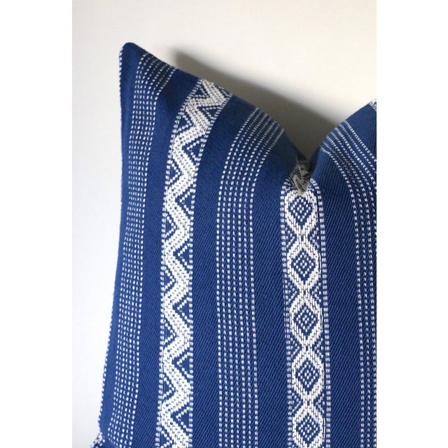 Rustic Boho Woven Blue Lumbar Pillow Cover - 12x18 For Sale - Image 3 of 4