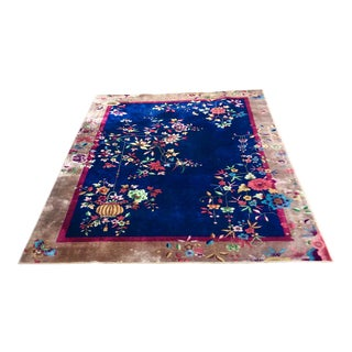 Vintage Art Deco Chinese Rug-8′ × 10′6″ For Sale
