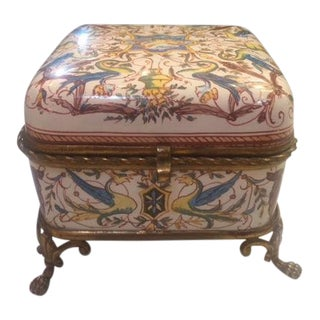 Late 19th Century Antique Opaline Glass Casket Box For Sale